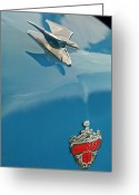 Woody Wagon Greeting Cards - 1952 Crosley Super Woody Wagon Hood Ornament Greeting Card by Jill Reger