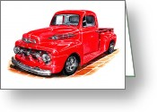 Framed Art Greeting Cards - 1952 Ford F-100 Pick Up Greeting Card by Jack Pumphrey