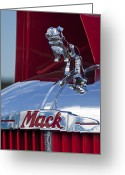 Ornaments Greeting Cards - 1952 L Model Mack Pumper Fire Truck Hood Ornament Greeting Card by Jill Reger
