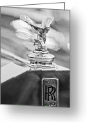 Silver And Black Greeting Cards - 1952 Rolls-Royce Silver Wraith Hood Ornament 2 Greeting Card by Jill Reger