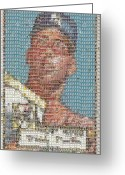 Bat Mixed Media Greeting Cards - 1952 Topps Mickey Mantle Rookie Card Mosaic Greeting Card by Paul Van Scott