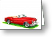 Fifties Buick Greeting Cards - 1953 Buick Skylark Convertible Greeting Card by Jack Pumphrey