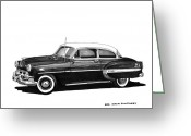 90s Greeting Cards - 1953 Chevrolet Post 2 dr sedan Greeting Card by Jack Pumphrey