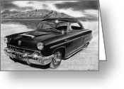 Sketch Greeting Cards - 1953 Mercury Monterey on Bonneville Greeting Card by Peter Piatt