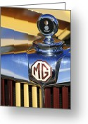 Td Greeting Cards - 1953 MG TD Hood Ornament Greeting Card by Jill Reger