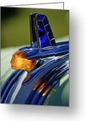 Vintage Hood Ornaments Greeting Cards - 1953 Pontiac Hood Ornament 3 Greeting Card by Jill Reger