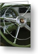 Car Collector Greeting Cards - 1953 Pontiac Steering Wheel Greeting Card by Jill Reger