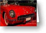 Transportation Greeting Cards - 1954 Chevrolet Corvette . Red . 7D9157 Greeting Card by Wingsdomain Art and Photography