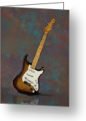 Fender Stratocaster Greeting Cards - 1954 Fender Stratocaster Guitar Greeting Card by Bradford Adams