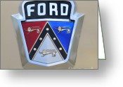 Ford V8 Greeting Cards - 1954 Ford Customline Emblem Close Up Greeting Card by Paul Ward