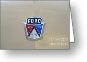 Ford V8 Greeting Cards - 1954 Ford Customline Emblem Greeting Card by Paul Ward