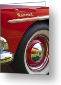 Hornet Greeting Cards - 1954 Hudson Hornet Wheel and Emblem Greeting Card by Jill Reger