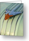 Chrome Jet Greeting Cards - 1954 Pontiac Chieftain Hood Ornament Greeting Card by Gordon Dean II