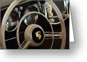 Twitter Greeting Cards - 1954 Porsche 356 Bent-Window Coupe Steering Wheel Emblem Greeting Card by Jill Reger