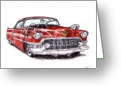 Dinosaurs Drawings Greeting Cards - 1955 Cadillac Series 62 Greeting Card by Dan Poll