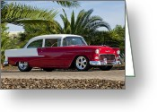 Chevrolet Greeting Cards - 1955 Chevrolet 210 Greeting Card by Jill Reger