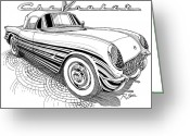 Bowtie Drawings Greeting Cards - 1955 Corvette Greeting Card by Rod Seel