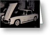 Mercedes Benz 300 Sl Classic Car Greeting Cards - 1955 Mercedes Gull wing Greeting Card by George Pedro