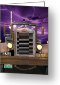 Radiator Greeting Cards - 1955 Peterbilt Greeting Card by Stuart Swartz