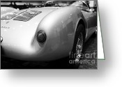 Racecars Greeting Cards - 1955 Porsche 550 RS Spyder . Black and White Photograph . 7D9453 Greeting Card by Wingsdomain Art and Photography