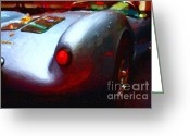 Vehicles Digital Art Greeting Cards - 1955 Porsche 550 RS Spyder . Painterly Style Greeting Card by Wingsdomain Art and Photography