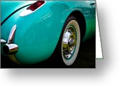 Street Rod Photo Greeting Cards - 1956 Baby Blue Chevy Corvette Greeting Card by David Patterson