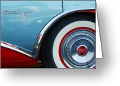 Blue Buick Greeting Cards - 1956 Buick Century Wheel Greeting Card by Jill Reger