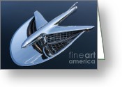 Blue Buick Greeting Cards - 1956 Buick Special Hood Ornament Greeting Card by Clarence Holmes