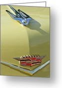 Car Mascot Greeting Cards - 1956 Cadillac Sedan Deville Hood Ornament Greeting Card by Jill Reger