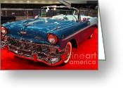 Cars Greeting Cards - 1956 Chevrolet Bel-Air Convertible . Blue . 7D9248 Greeting Card by Wingsdomain Art and Photography