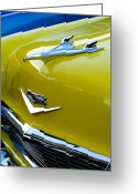 Vintage Hood Ornaments Greeting Cards - 1956 Chevrolet Hood Ornament 3 Greeting Card by Jill Reger