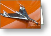 Chrome Jet Greeting Cards - 1956 Chevy Bel Air Hood Ornament I Greeting Card by Clarence Holmes