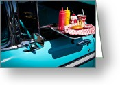 Car Ornaments Greeting Cards - 1956 Chevy Bel Air  I said no pickles where is that Carhop Greeting Card by David Patterson