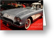 Transportation Greeting Cards - 1956 Chevy Corvette Convertible . Front Angle Greeting Card by Wingsdomain Art and Photography