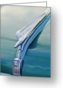 Car Mascot Greeting Cards - 1956 Fiat Hood Ornament 2 Greeting Card by Jill Reger