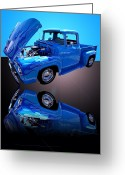 Truck Shows Greeting Cards - 1956 Ford Blue Pick-up Greeting Card by Jim Carrell