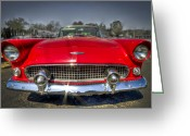 Ford Engine Greeting Cards - 1956 T-Bird Greeting Card by Debra and Dave Vanderlaan