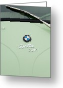 Bmw Emblem Greeting Cards - 1957 BMW Isetta 300 Cabriolet Hood Emblem Greeting Card by Jill Reger
