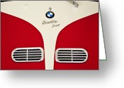 Bmw Classic Car Greeting Cards - 1957 BMW Isetta Convertible Grille Emblem Greeting Card by Jill Reger