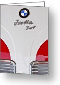 Bmw Emblem Greeting Cards - 1957 BMW Isetta Coupe Hood Emblem Greeting Card by Jill Reger