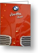 Bmw Emblem Greeting Cards - 1957 BMW Isetta Hood Emblem Greeting Card by Jill Reger