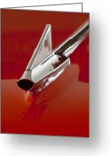Car Mascot Greeting Cards - 1957 Chevrolet Cameo Pickup Hood Ornament Greeting Card by Jill Reger