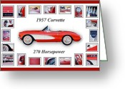 Red Car Greeting Cards - 1957 Chevrolet Corvette Art Greeting Card by Jill Reger