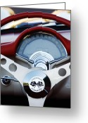 1957 Corvette Greeting Cards - 1957 Chevrolet Corvette Convertible Steering Wheel Greeting Card by Jill Reger
