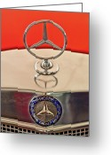 Car Mascot Greeting Cards - 1957 Mercedes-Benz 220 S Hood Ornament Greeting Card by Jill Reger