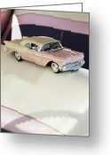Oldsmobile Greeting Cards - 1957 Oldsmobile Super 88 Matchbox Car Greeting Card by Jill Reger