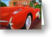 1957 Corvette Greeting Cards - 1957 Red Corvette Greeting Card by Dean Glorso