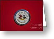Logos Greeting Cards - 1957 Red Corvette Emblem Greeting Card by Susan Candelario