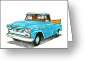 1958 Chevrolet Greeting Cards - 1958 Chevrolet Apache Pick up Greeting Card by Jack Pumphrey