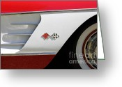 1958 Chevrolet Greeting Cards - 1958 Chevrolet Corvette . 5D16217 Greeting Card by Wingsdomain Art and Photography